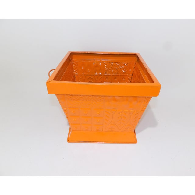 Metal Contemporary Orange Square Metal Catchall Bin Organizer For Sale - Image 7 of 8