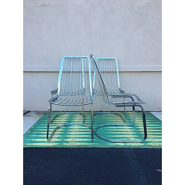 Italian Cidue Vincenca Chrome Wire Chairs - Set of 4 For Sale - Image 3 of 5