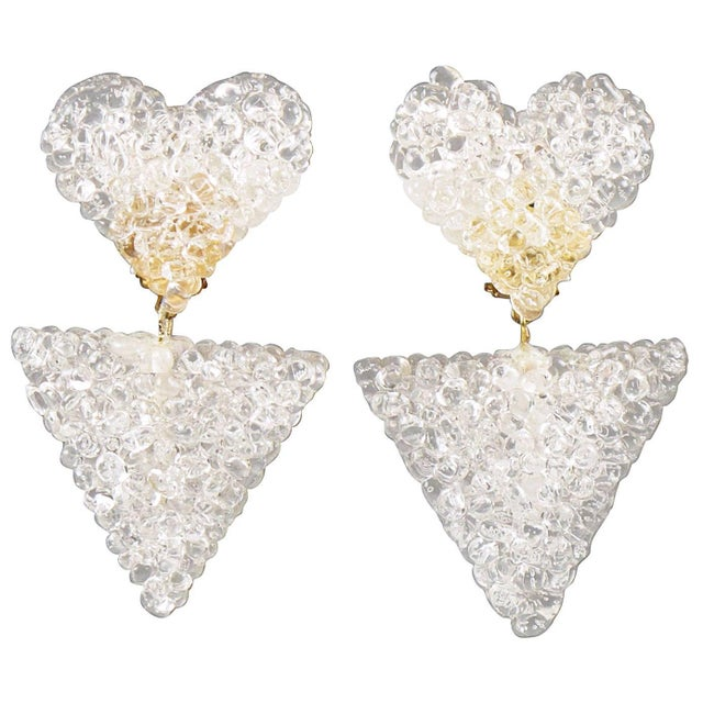 Romantic Dangling Clear Lucite Clip on Earrings With Heart For Sale - Image 9 of 9