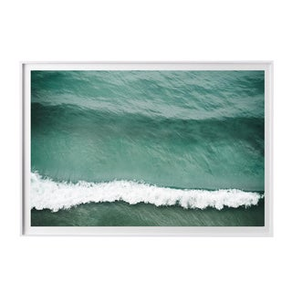 """Crest"" Large Aerial Ocean Wave Surf Photograph Coastal Art - 30"" X 20"" White Frame For Sale"