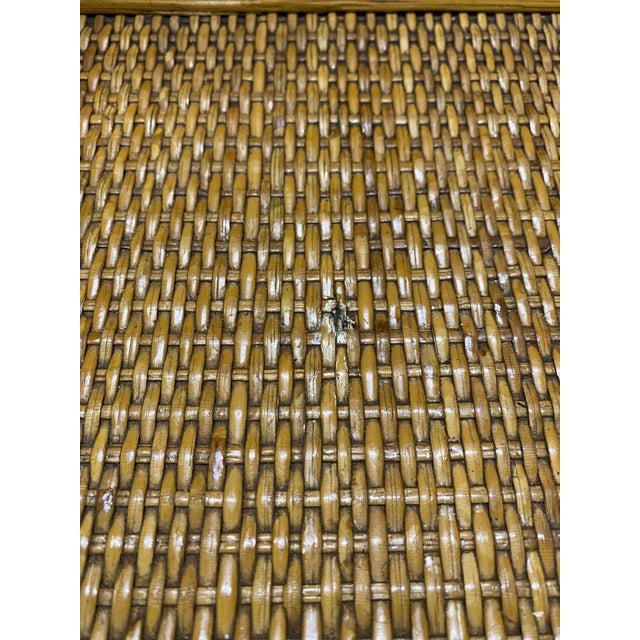 1970s Golden Palm Beach Bamboo and Rattan Nesting Tables - Set of 3 For Sale - Image 10 of 11