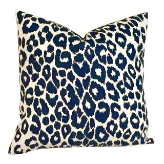 Contemporary Schumacher Iconic Leopard in Ink Pillow Cover, 18x18 For Sale