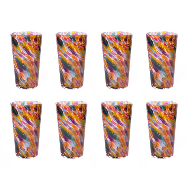 Hand Blown Pint Glasses, Rainbow Mix with White - Set of 8 For Sale - Image 4 of 4