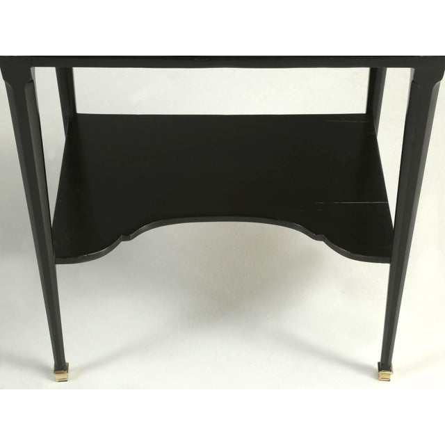 Antique French Louis XVI Style End or Side Table in an Ebonized Mahogany Finish For Sale - Image 9 of 10