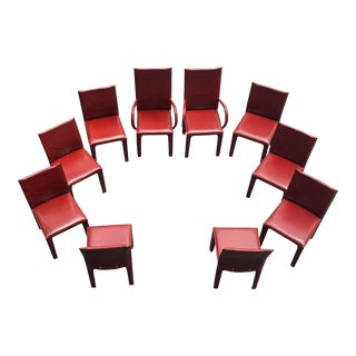 1970s Mid-Century Modern Italian Leather Dining Chairs- Set of 10 For Sale