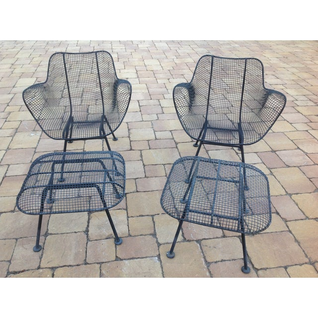 Russell Woodard Wire Chairs & Ottoman - Pair - Image 4 of 6