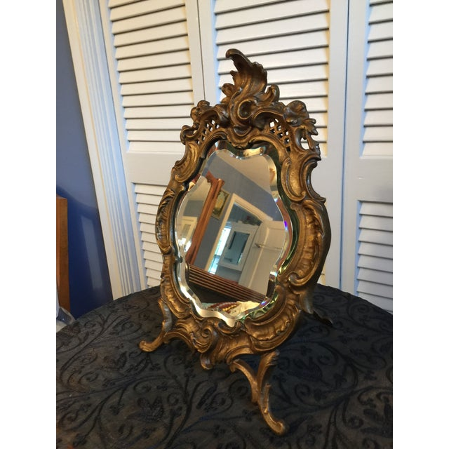 French 1800s Antique Louis XV Style French Vanity Mirror For Sale - Image 3 of 13
