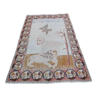 Distressed Pictorial Lion Turkish Rug 4′4″ × 6′3″ For Sale