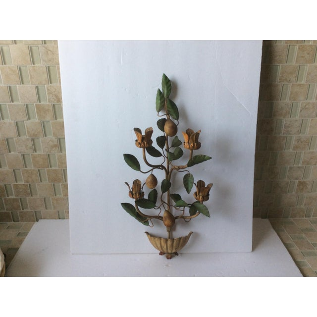 Great vintage painted Tole Wall Sconce decoration with carved Alabaster Pears.