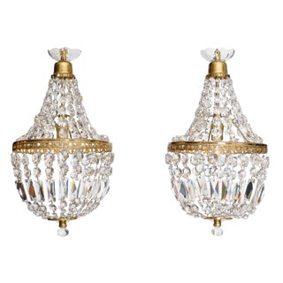 French Antique Crystal Pendant Chandeliers - a Pair For Sale