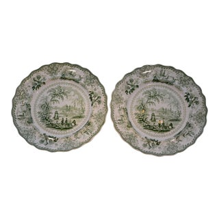 Late 19th Century Antique Green Transferware Dinner Plates by Phillips Longport- Pair For Sale