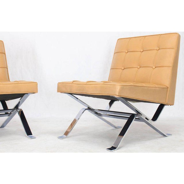 Mid-Century Modern Tufted Upholstery Chrome Base Settee Loveseat and Chair Set - 2 Pieces For Sale - Image 4 of 11