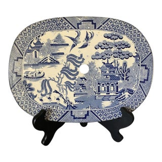 Antique English Meat Platter Drainer Blue Willow Transferware Oval Plateau #9 For Sale