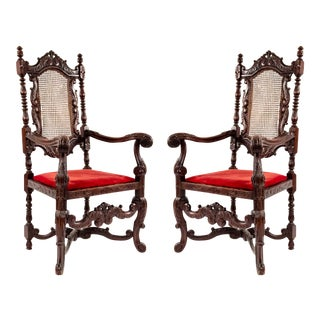 English Jacobean Walnut Arm Chairs For Sale