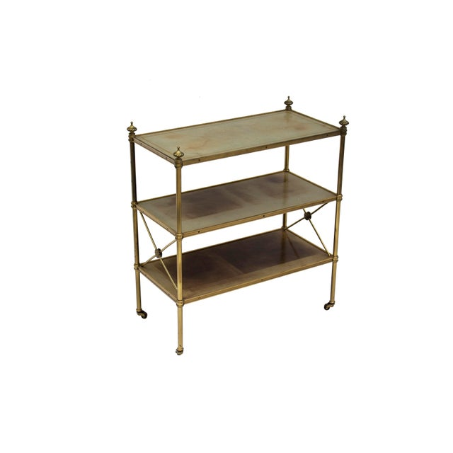 Boho Chic Petite Leather-Lined Brass Etagere or Bookshelf by Baker For Sale - Image 3 of 10