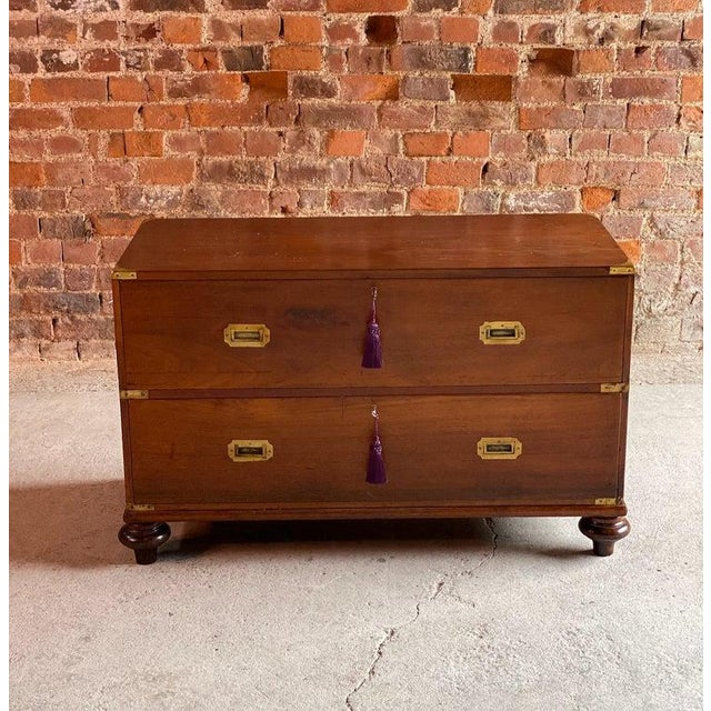 1850 Antique Campaign Teak Chest of Drawers For Sale - Image 6 of 13