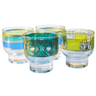 Midcentury Colorful Glasses- S/4 For Sale