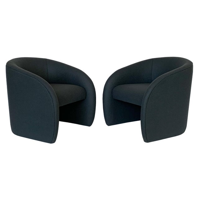 Pair of Directional Fully Upholstered Barrel Lounge Chairs For Sale - Image 13 of 13
