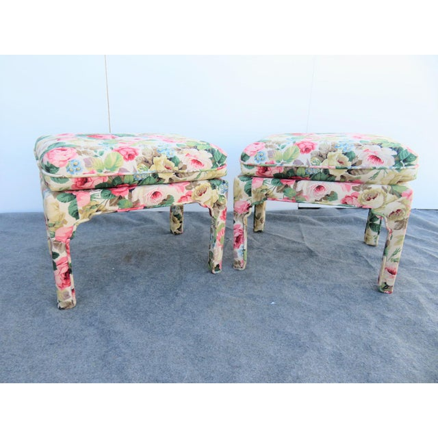 A pair of Parsons stools, chinoiserie design legs, rose patterned fabric