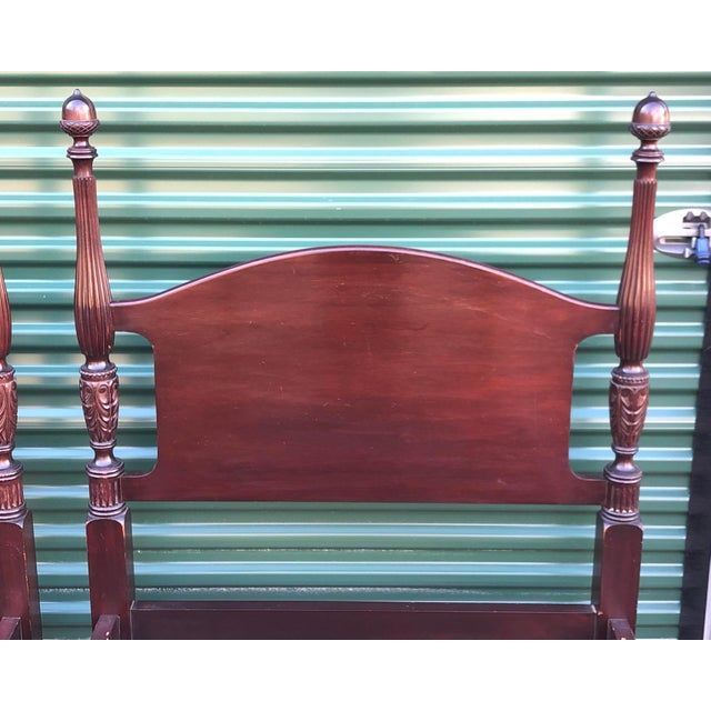 Traditional Solid Mahogany Acorn Top Twin Beds- a Pair For Sale - Image 3 of 13