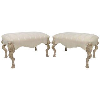 Pair of Louis XV Style Large Stools in Limed Wood With Carved Griffins For Sale