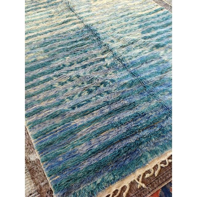 "Vintage Moroccan Aqua Berber Rug -- 5'2"" x 10'11"" For Sale - Image 5 of 9"