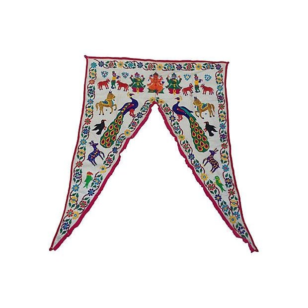 Embroidered Ganesha Window Valance For Sale