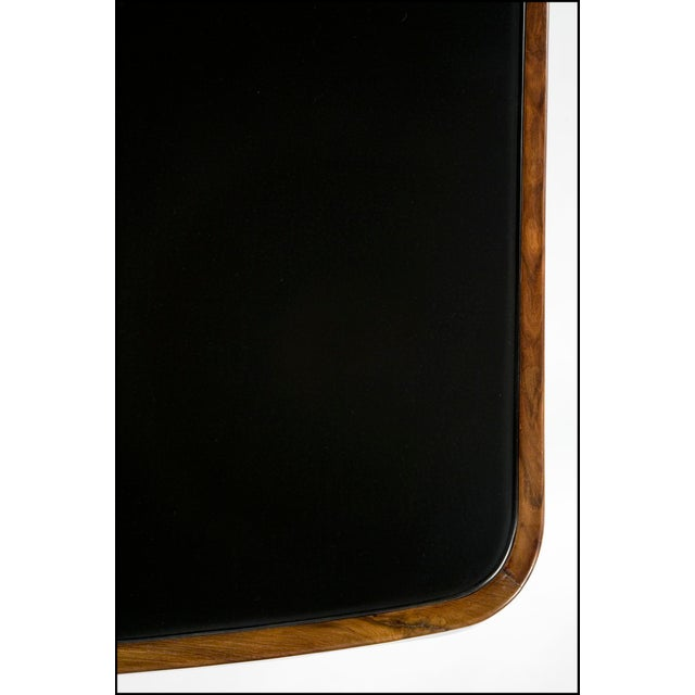 Mid 20th Century Soft-Edged Rectangular Dining Table in Rosewood With Black Underpainted Glass Top and Curved Legs For Sale - Image 5 of 9
