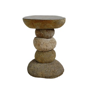 Stacked River Rock Table For Sale