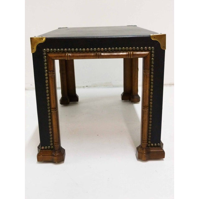 Drexel Drexel Faux Bamboo Leather Top Side Table For Sale - Image 4 of 9