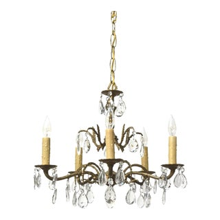 Five Light Spanish Brass and Crystal Chandelier For Sale