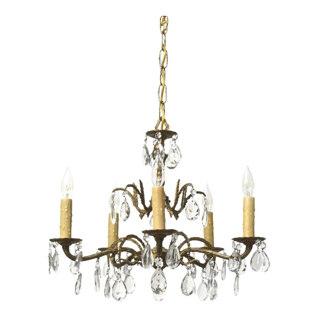 Five Light Spanish Brass and Crystal Chandelier - Image 1 of 5