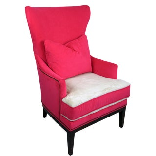 BiltWell Showroom Hot Pink Faux Fur Wing Chair For Sale