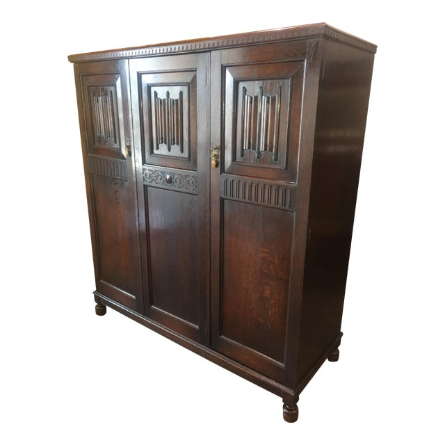 Antique English Solid Oak Linen Press or Armoire - Image 1 of 11