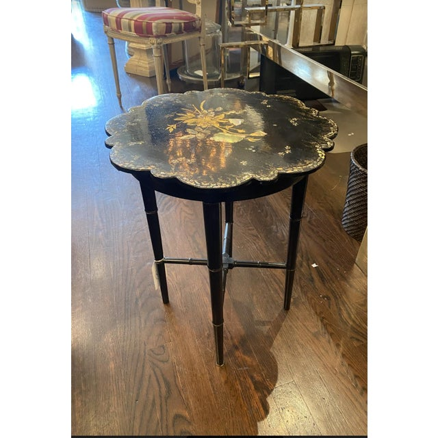 Small Chinoiserie Side Table or Stool Black Faux Bamboo Legs For Sale In New York - Image 6 of 7