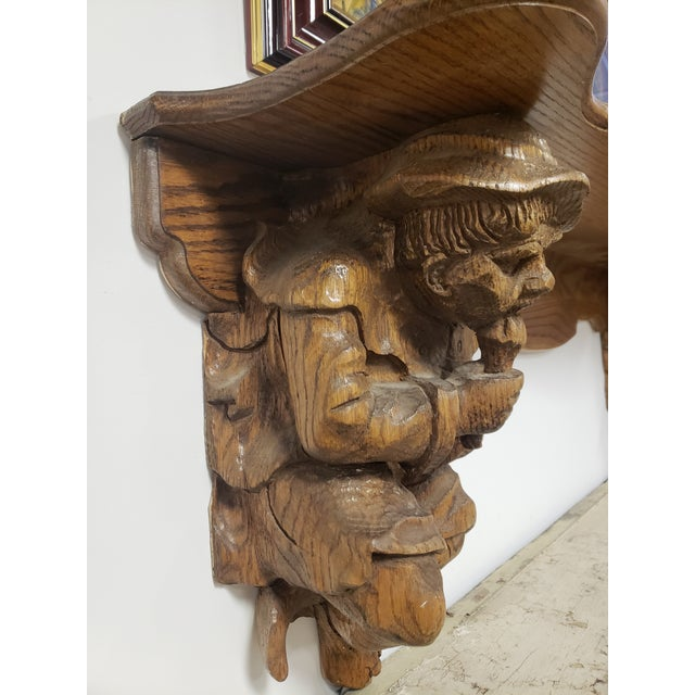 Early 20th Century Antique Hand Carved Black Forest Oak Mantle For Sale - Image 5 of 10