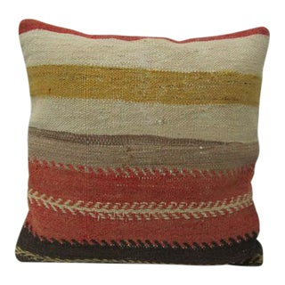 Handmade Striped Wool Kilim Pillow For Sale