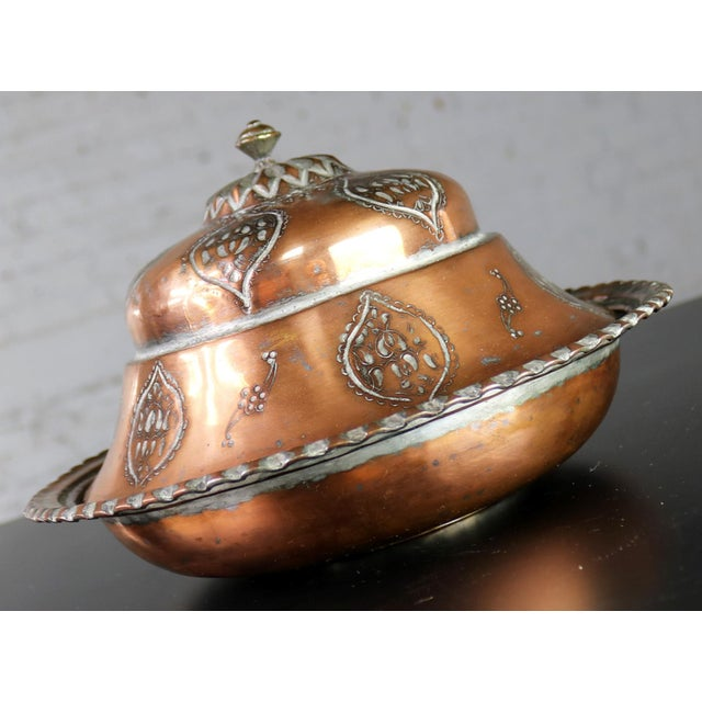 Antique Turkish Ottoman Copper Lidded Bowl Hand Forged Hand Chiseled and Tinned For Sale - Image 10 of 13