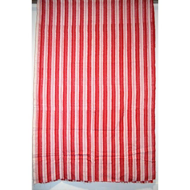 Red White Striped Cotton Fabric Hand Woven Ikat 4 Yards Chairish