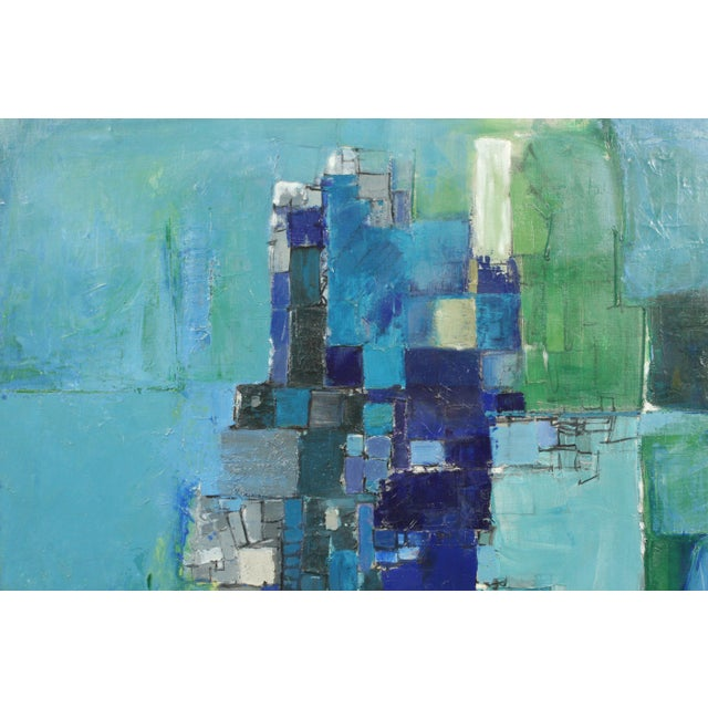 Fun Mid-Century Modern blue and green toned abstract. This piece features Expressionist square shapes and amazing details....