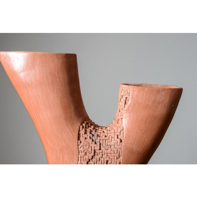 Mid Century Abstract Modern Hand Thrown Sculpture on Iron Base For Sale - Image 4 of 8