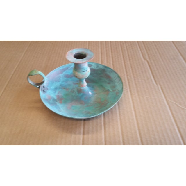 Vintage bronze candlestick holder refinished in a Verde green patina. Subtle reflections of brushed bronze contrast with...
