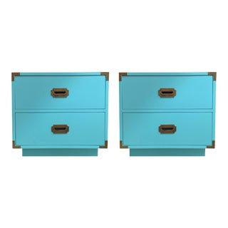 Vintage Aqua Dixie Campaign Nightstands - a Pair For Sale