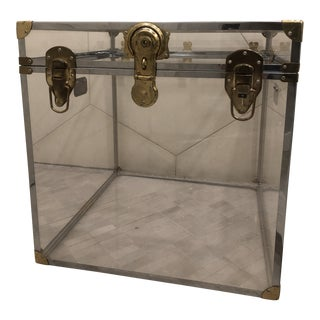 1970's Vintage Modern Lucite, Brass and Chrome Trunk For Sale