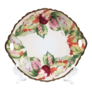 Antique Hand Painted Cake Platter For Sale