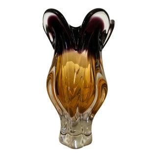 Josef Hospodka of Chribska Glassworks Czech Hand Blown Art Glass Vase For Sale