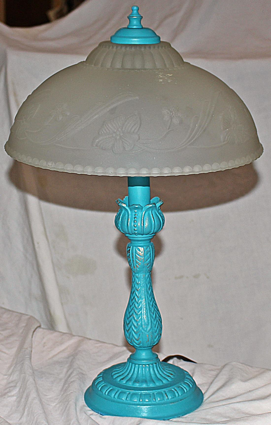 Painted Table Lamp With Frosted Glass Shade Chairish