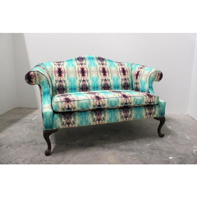 Modern Custom Upholstered Boho Chic Love Seat For Sale In Madison - Image 6 of 8