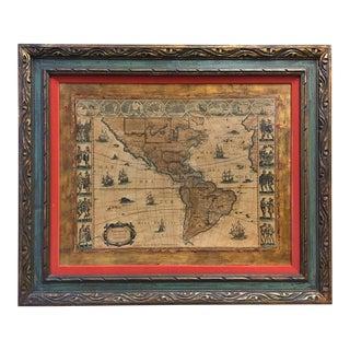 Antique Framed Reproduction of Blaeu's America Nova Tabula Map For Sale
