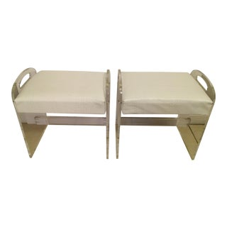 1970s Upholstered Lucite Benches - A Pair For Sale